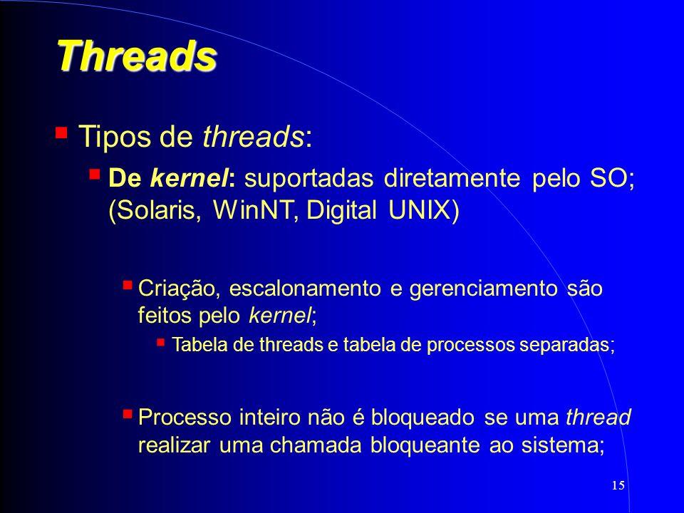 15 Threads Tipos de threads: De kernel: suportadas diretamente pelo SO; (Solaris, WinNT, Digital UNIX) Criação, escalonamento e gerenciamento são feitos pelo kernel; Tabela de threads e tabela de processos separadas; Processo inteiro não é bloqueado se uma thread realizar uma chamada bloqueante ao sistema;