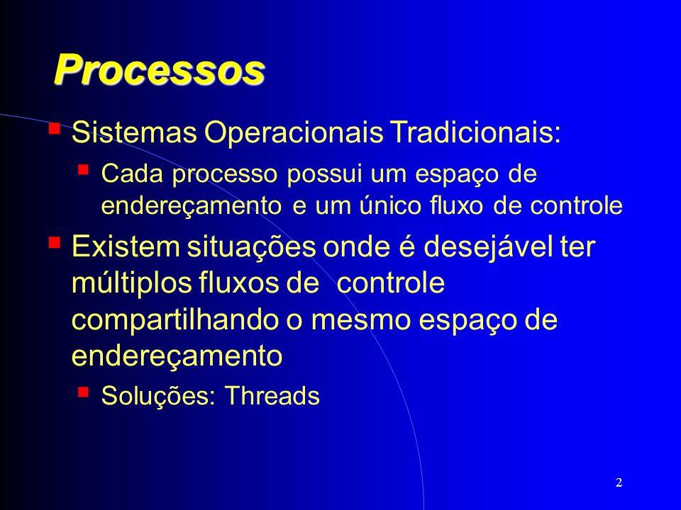 13 Threads Tipos de threads: De usuário: implementadas por bibliotecas no nível do usuário; (Solaris, Mach) Criação e escalonamento são realizados sem o conhecimento do kernel; Sistema Supervisor (run-time system); Tabela de threads para cada processo; Processo inteiro é bloqueado se uma thread realizar uma chamada bloqueante ao sistema;