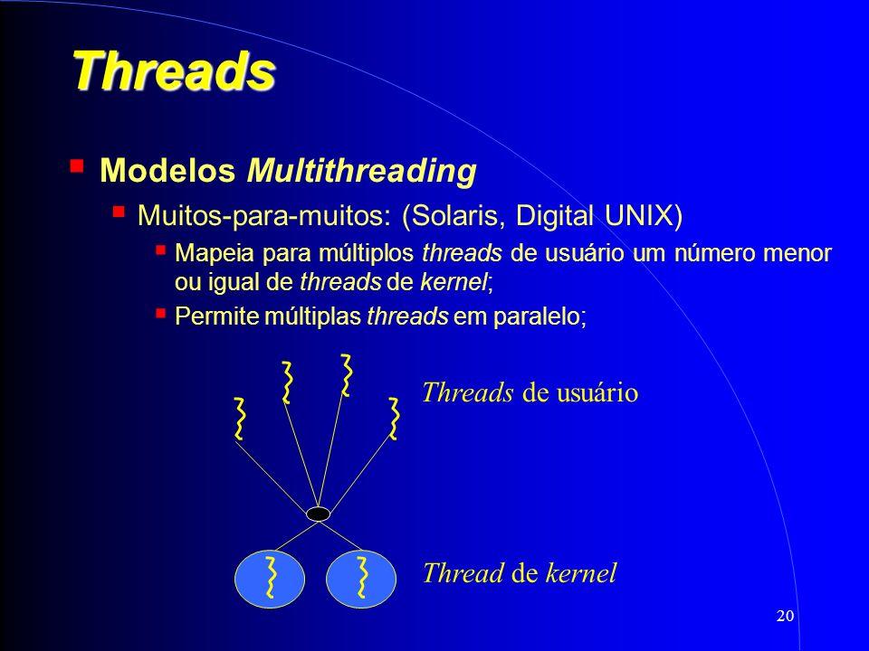 20 Threads Modelos Multithreading Muitos-para-muitos: (Solaris, Digital UNIX) Mapeia para múltiplos threads de usuário um número menor ou igual de threads de kernel; Permite múltiplas threads em paralelo; Threads de usuário Thread de kernel