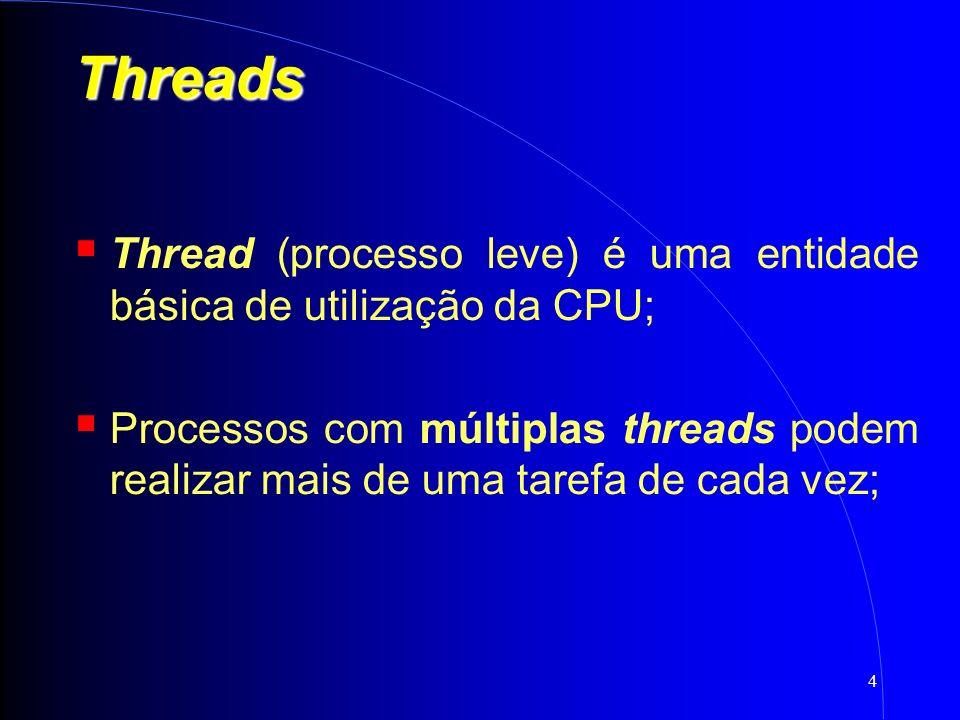 4 Threads Thread (processo leve) é uma entidade básica de utilização da CPU; Processos com múltiplas threads podem realizar mais de uma tarefa de cada vez;