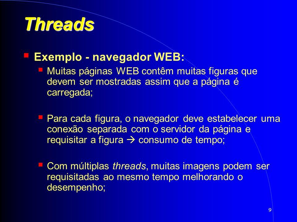 9 Threads Exemplo - navegador WEB: Muitas páginas WEB contêm muitas figuras que devem ser mostradas assim que a página é carregada; Para cada figura, o navegador deve estabelecer uma conexão separada com o servidor da página e requisitar a figura consumo de tempo; Com múltiplas threads, muitas imagens podem ser requisitadas ao mesmo tempo melhorando o desempenho;