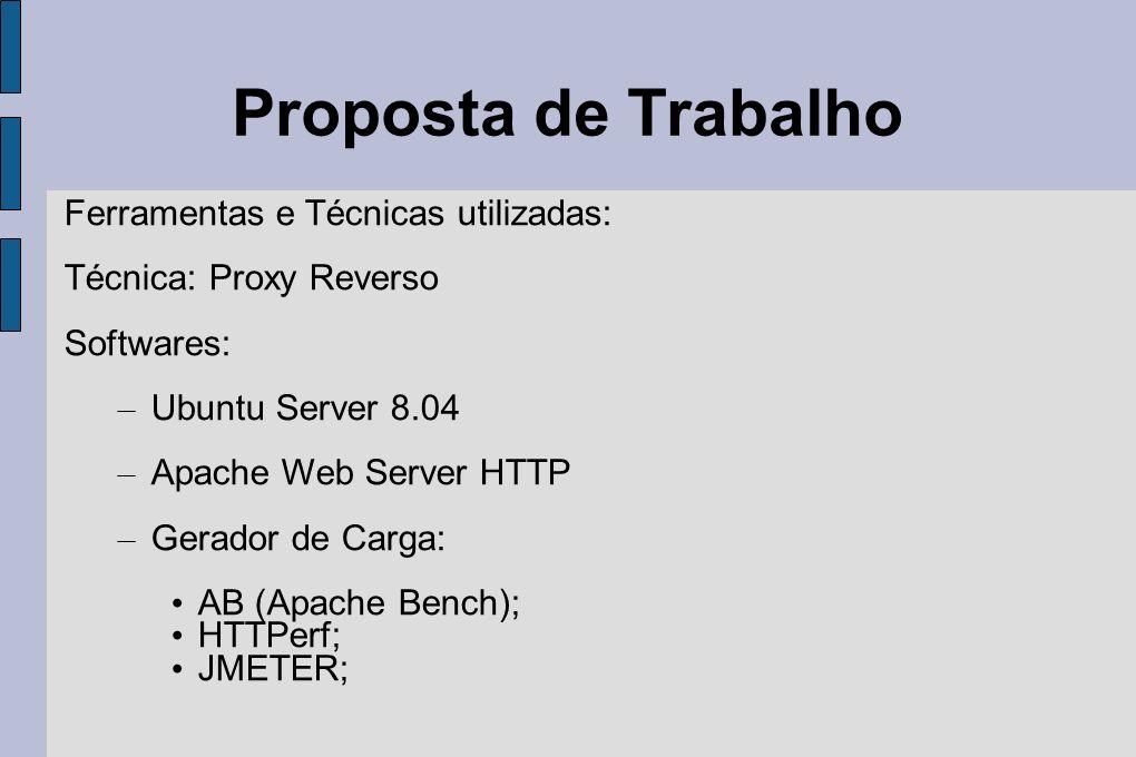 Proposta de Trabalho Ferramentas e Técnicas utilizadas: Técnica: Proxy Reverso Softwares: – Ubuntu Server 8.04 – Apache Web Server HTTP – Gerador de C