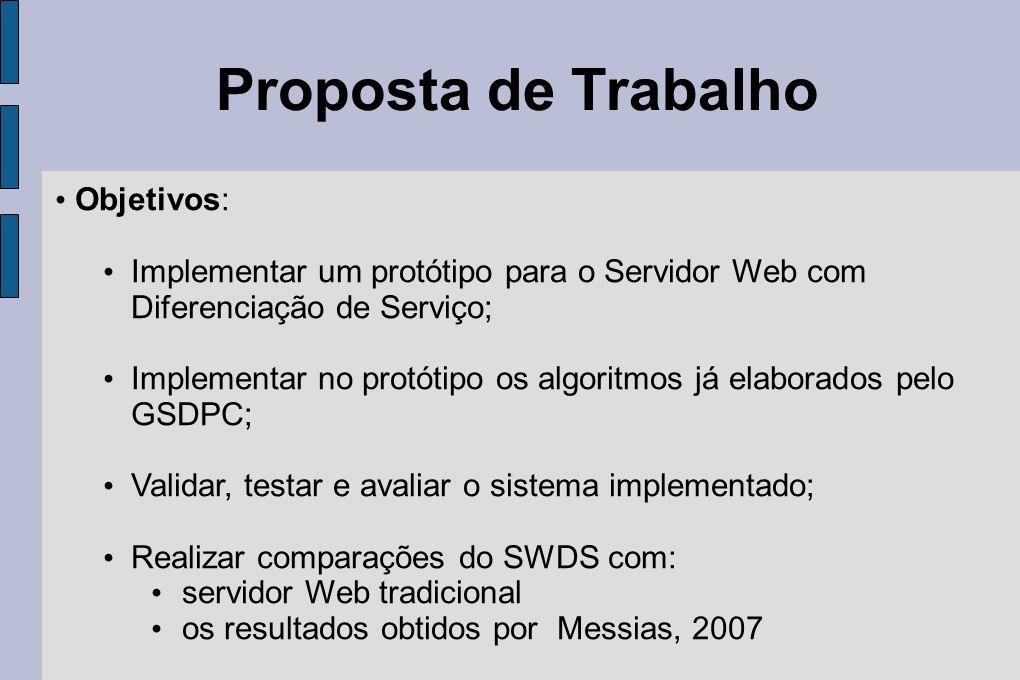 Objetivos: Implementar um protótipo para o Servidor Web com Diferenciação de Serviço; Implementar no protótipo os algoritmos já elaborados pelo GSDPC;