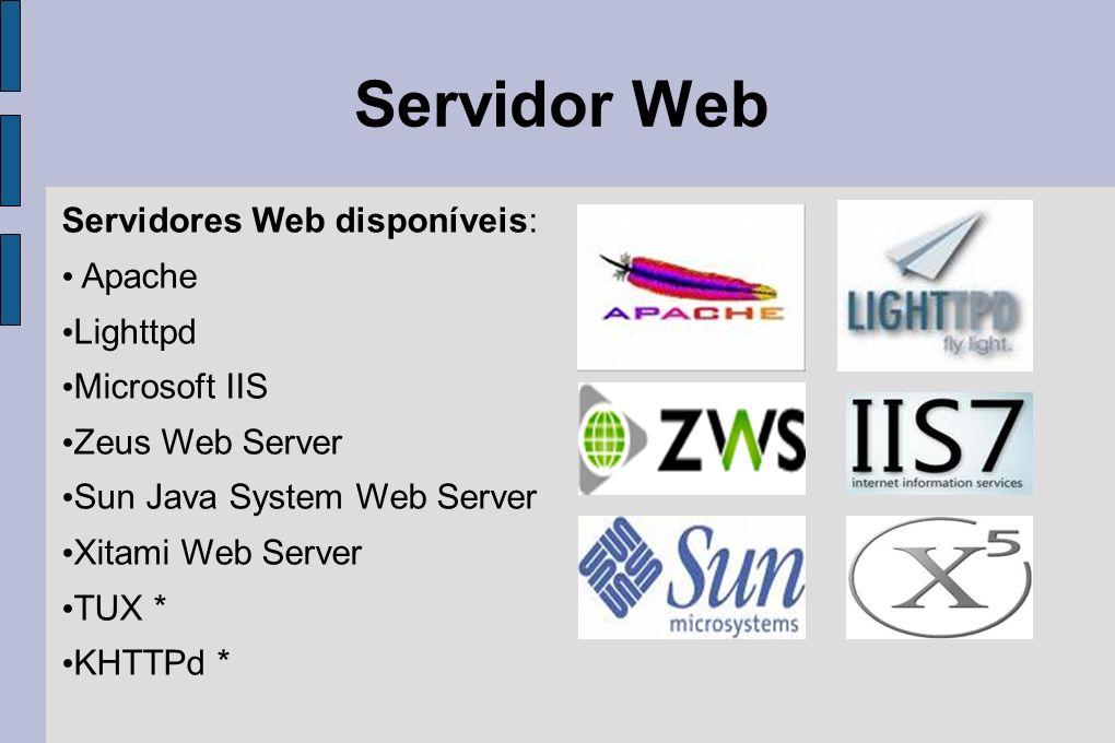 Servidor Web Servidores Web disponíveis: Apache Lighttpd Microsoft IIS Zeus Web Server Sun Java System Web Server Xitami Web Server TUX * KHTTPd *