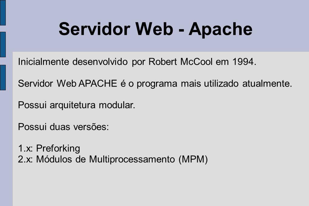 Servidor Web - Apache Inicialmente desenvolvido por Robert McCool em 1994. Servidor Web APACHE é o programa mais utilizado atualmente. Possui arquitet
