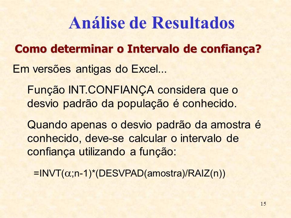 15 Análise de Resultados Como determinar o Intervalo de confiança? Em versões antigas do Excel... Função INT.CONFIANÇA considera que o desvio padrão d