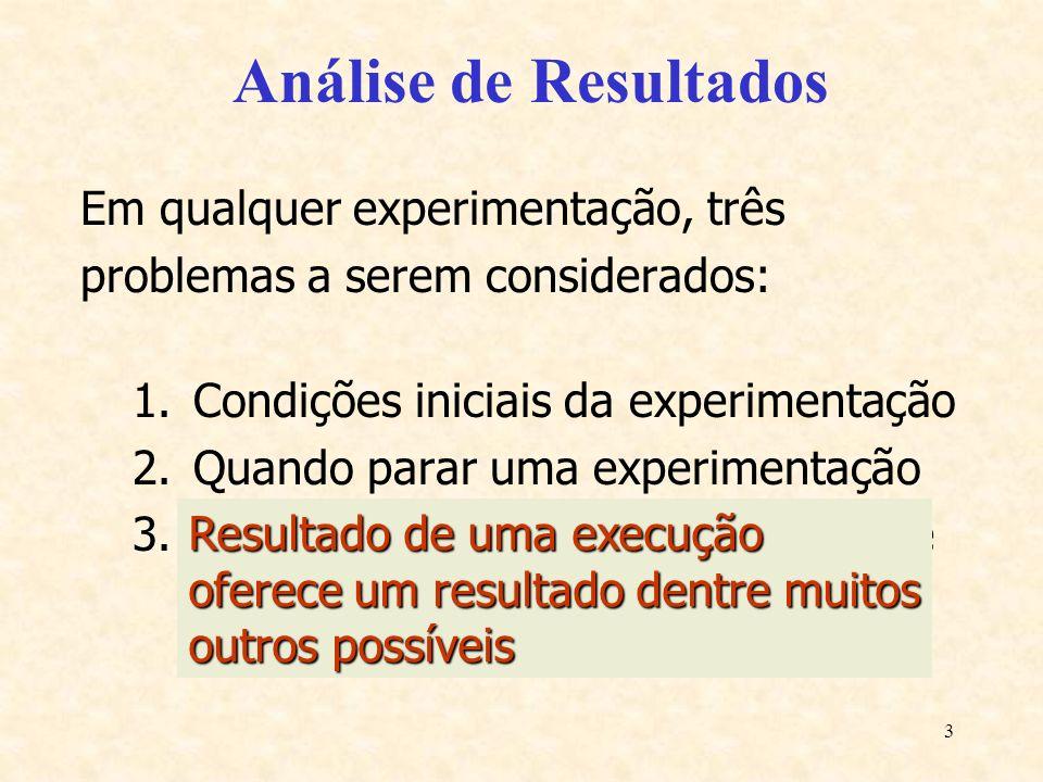 3 Análise de Resultados Em qualquer experimentação, três problemas a serem considerados: 1.Condições iniciais da experimentação 2.Quando parar uma exp