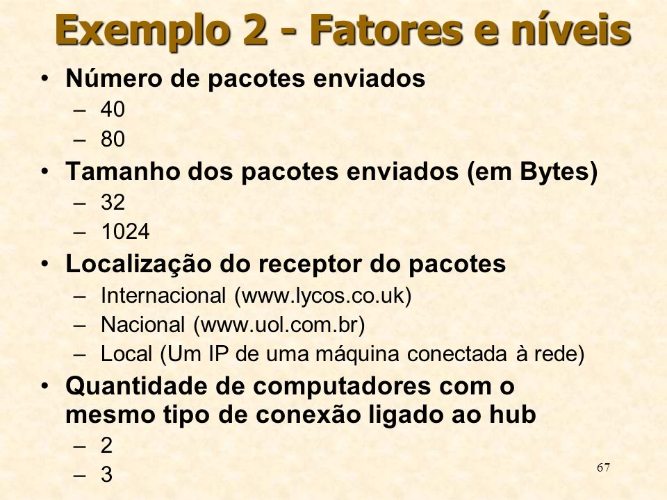 67 Exemplo 2 - Fatores e níveis Número de pacotes enviados – 40 – 80 Tamanho dos pacotes enviados (em Bytes) – 32 – 1024 Localização do receptor do pa