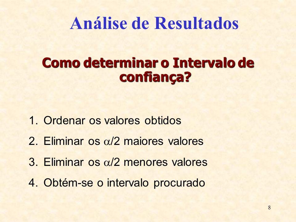 8 Análise de Resultados Como determinar o Intervalo de confiança? 1.Ordenar os valores obtidos 2.Eliminar os /2 maiores valores 3.Eliminar os /2 menor
