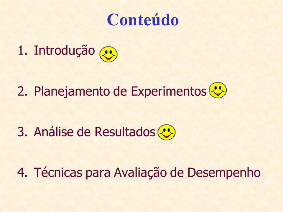 Conteúdo 1.Introdução 2.Planejamento de Experimentos 3.Análise de Resultados 4.Técnicas para Avaliação de Desempenho