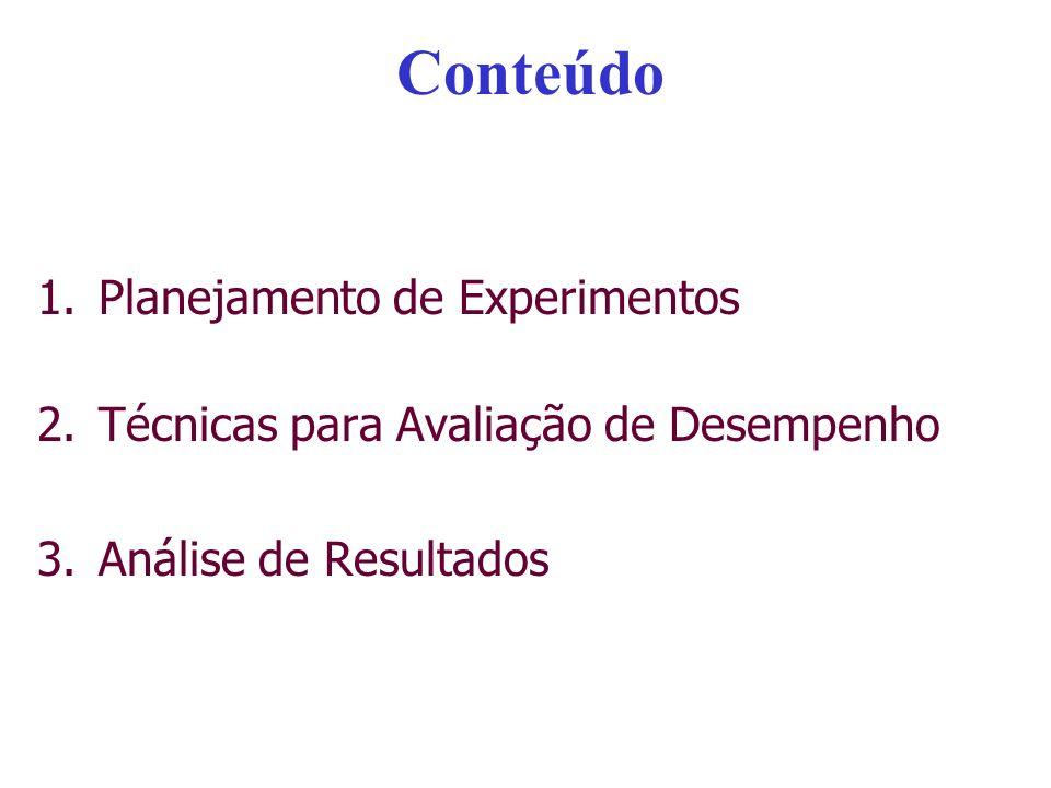 Conteúdo 1.Planejamento de Experimentos –Motivação –Introdução à Avaliação de Desempenho –Etapas de um Experimento –Planejamento do Experimento Conceitos Básicos Carga de trabalho Modelos para Planejamento de Experimento 2.Técnicas para Avaliação de Desempenho 3.Análise de Resultados