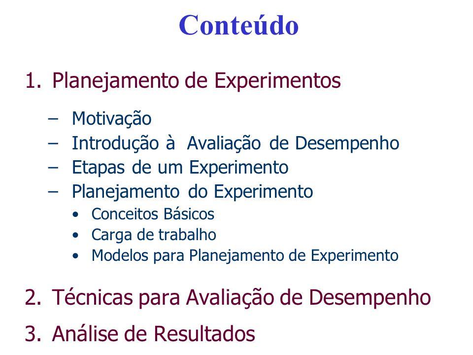Avaliação de Desempenho 1.Planejamento de Experimentos –Motivação –Introdução à Avaliação de Desempenho –Etapas de um Experimento –Planejamento do Experimento Conceitos Básicos Carga de trabalho Modelos para Planejamento de Experimento 2.Análise de Resultados 3.Técnicas para Avaliação de Desempenho
