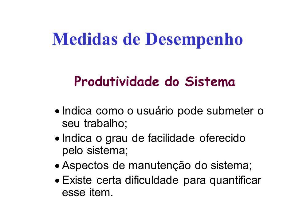 Medidas de Desempenho Produtividade do Sistema Indica como o usuário pode submeter o seu trabalho; Indica o grau de facilidade oferecido pelo sistema;