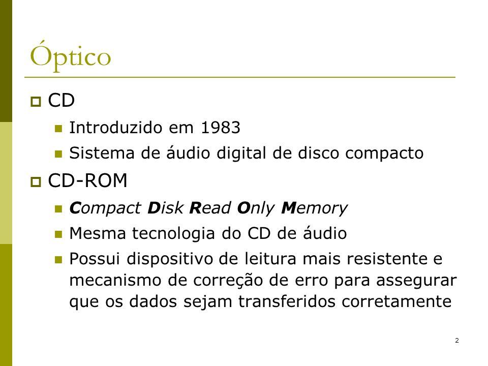 3 CDs Assim como os discos magnéticos, o CD é um meio de armazenamento digital, ou seja, armazena dois valores: 0 ou 1 Discos magnéticos utilizam campos magnéticos para gravar e o fluxo reverso que é detectado pelo cabeçote para ler CDs utilizam técnica para armazenamento com alterações físicas ao invés de magnéticas