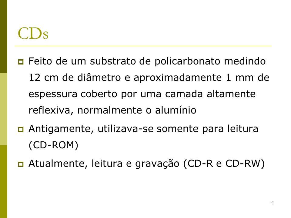 5 CD-ROM Primeiro passo: produção de um mestre Mestre: Superfície totalmente lisa Land (lisa) ou pit (queimada por um laser) Produção em série a partir do CD mestre