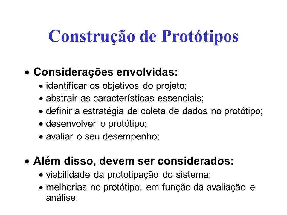 Considerações envolvidas: identificar os objetivos do projeto; abstrair as características essenciais; definir a estratégia de coleta de dados no prot