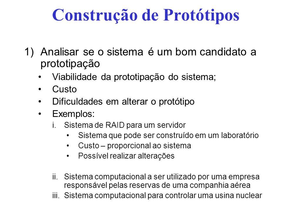 Construção de Protótipos 1)Analisar se o sistema é um bom candidato a prototipação Viabilidade da prototipação do sistema; Custo Dificuldades em alter