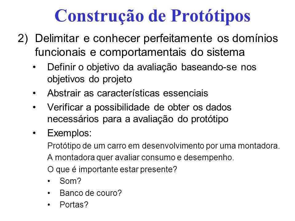 Construção de Protótipos 2)Delimitar e conhecer perfeitamente os domínios funcionais e comportamentais do sistema Definir o objetivo da avaliação base