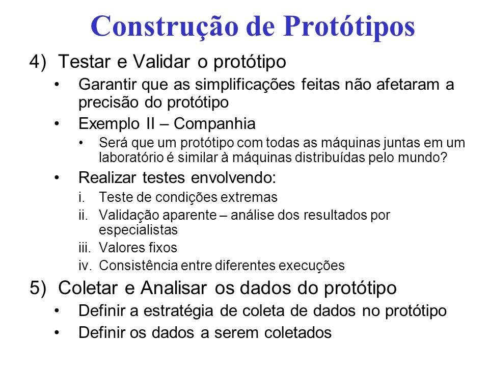 Construção de Protótipos 4)Testar e Validar o protótipo Garantir que as simplificações feitas não afetaram a precisão do protótipo Exemplo II – Compan