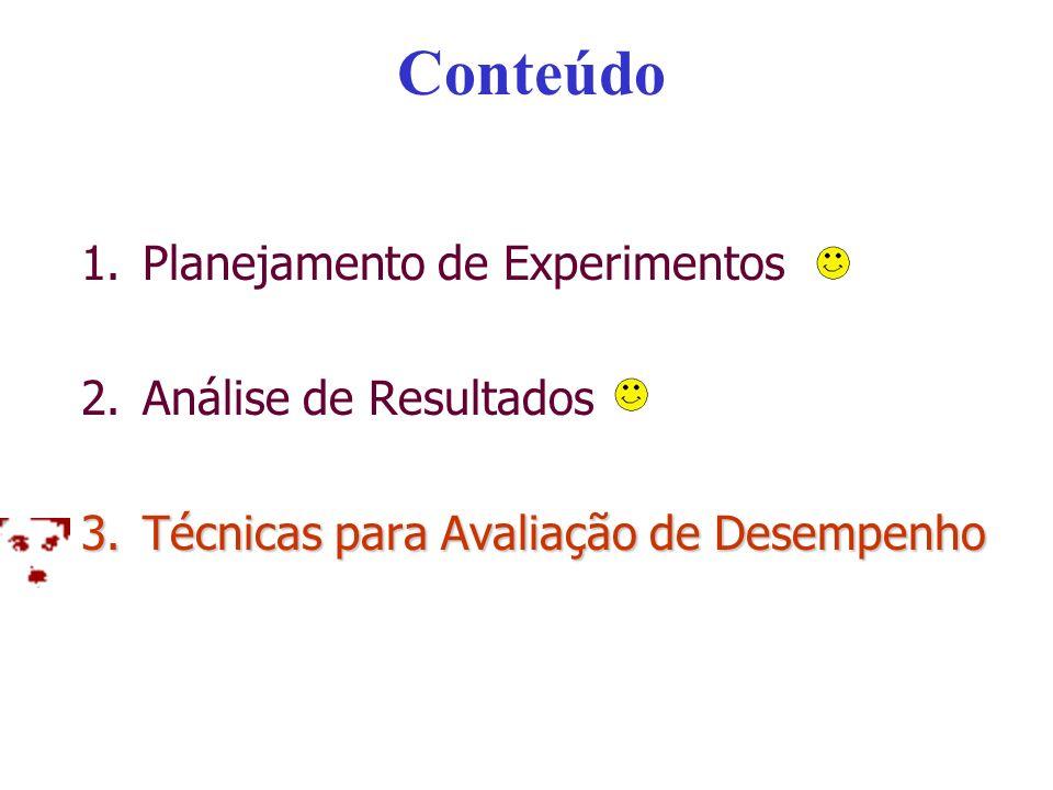 Conteúdo 1.Planejamento de Experimentos 2.Análise de Resultados 3.Técnicas para Avaliação de Desempenho