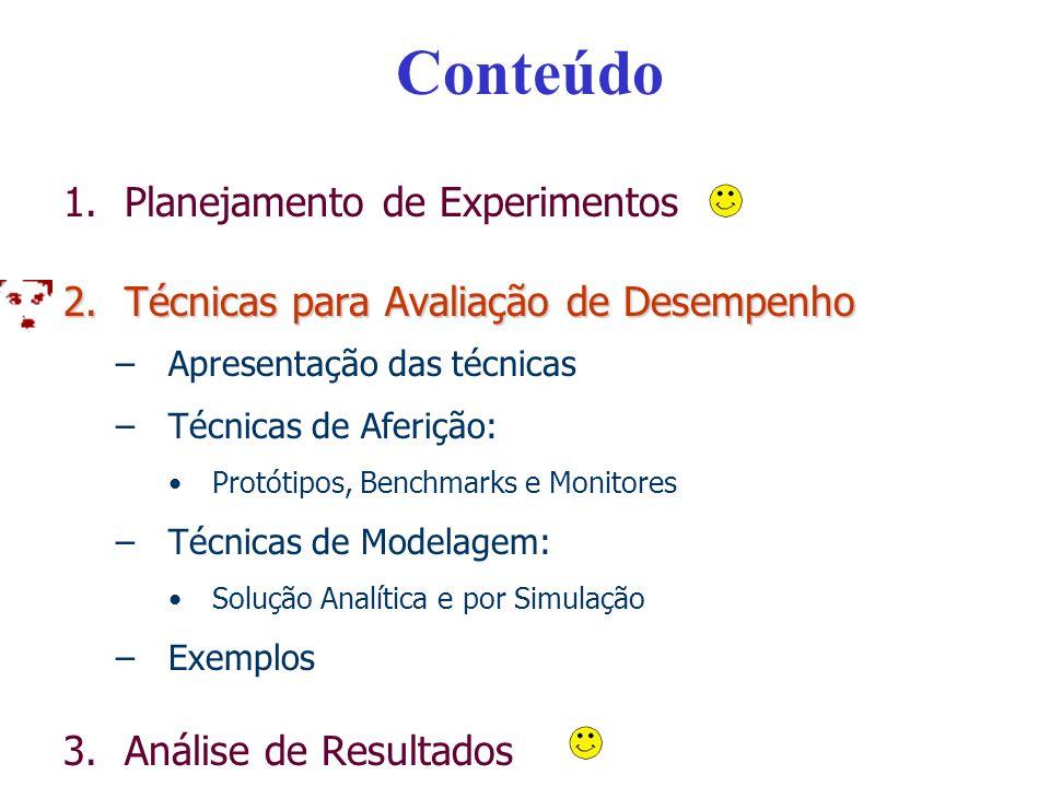 Conteúdo – Parte II 1.Planejamento de Experimentos 2.Técnicas para Avaliação de Desempenho –Apresentação das técnicas –Técnicas de Aferição: Protótipos, Benchmarks e Monitores –Técnicas de Modelagem: Solução Analítica e por Simulação –Exemplos 3.Análise de Resultados