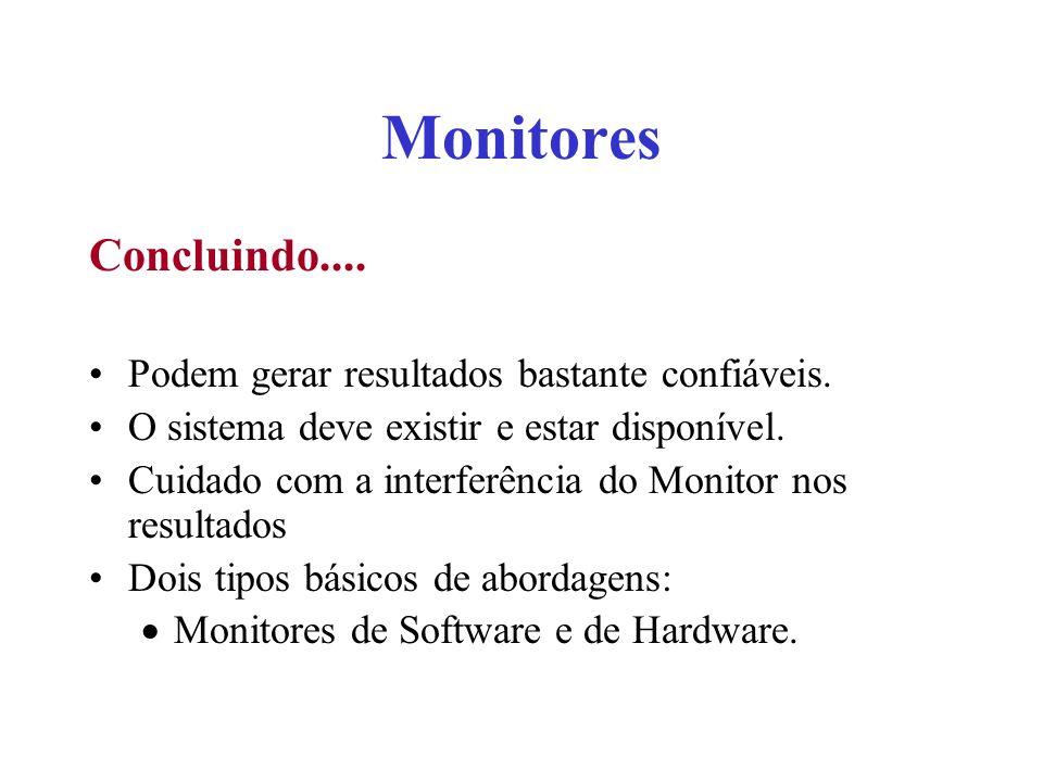Monitores Concluindo.... Podem gerar resultados bastante confiáveis. O sistema deve existir e estar disponível. Cuidado com a interferência do Monitor