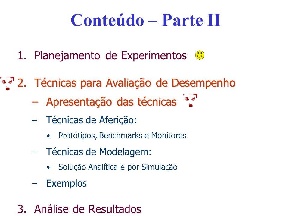 Conteúdo – Parte II 1.Planejamento de Experimentos 2.Técnicas para Avaliação de Desempenho –Apresentação das técnicas –Técnicas de Aferição: Protótipo