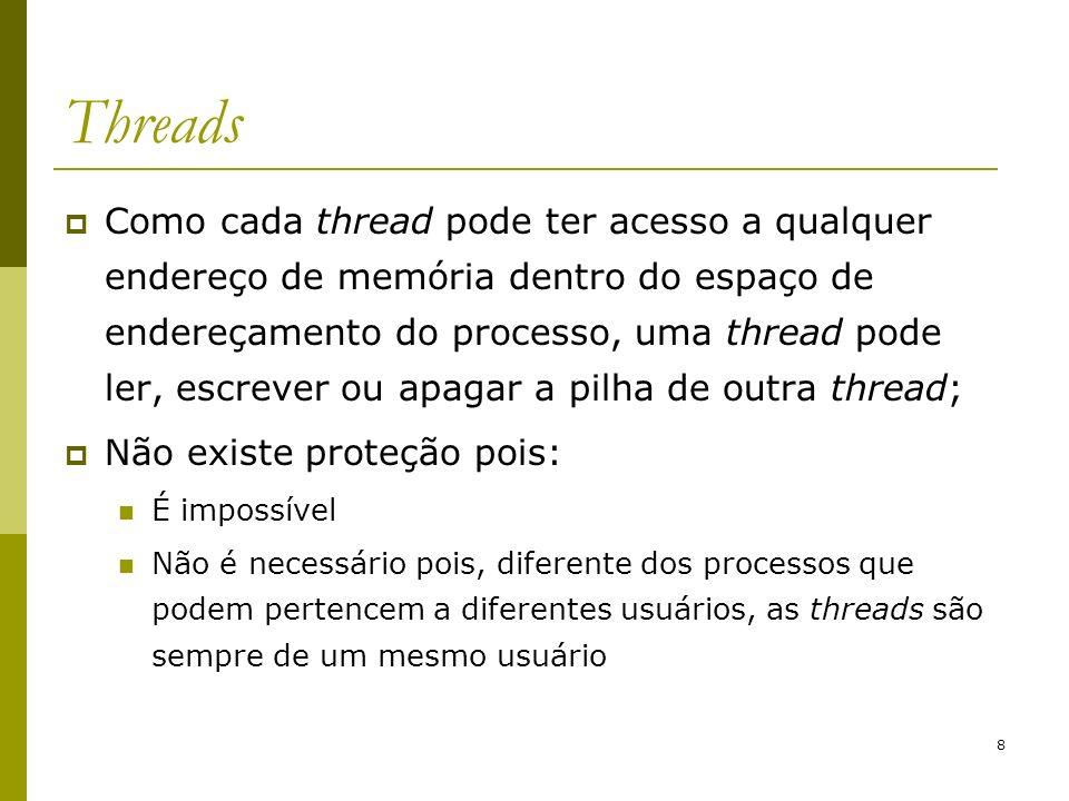 9 Threads Razões para existência de threads: Em múltiplas aplicações ocorrem múltiplas atividades ao mesmo tempo, e algumas dessas atividades podem bloquear de tempos em tempos; As threads são mais fáceis de gerenciar do que processos, pois elas não possuem recursos próprios o processo é que tem.