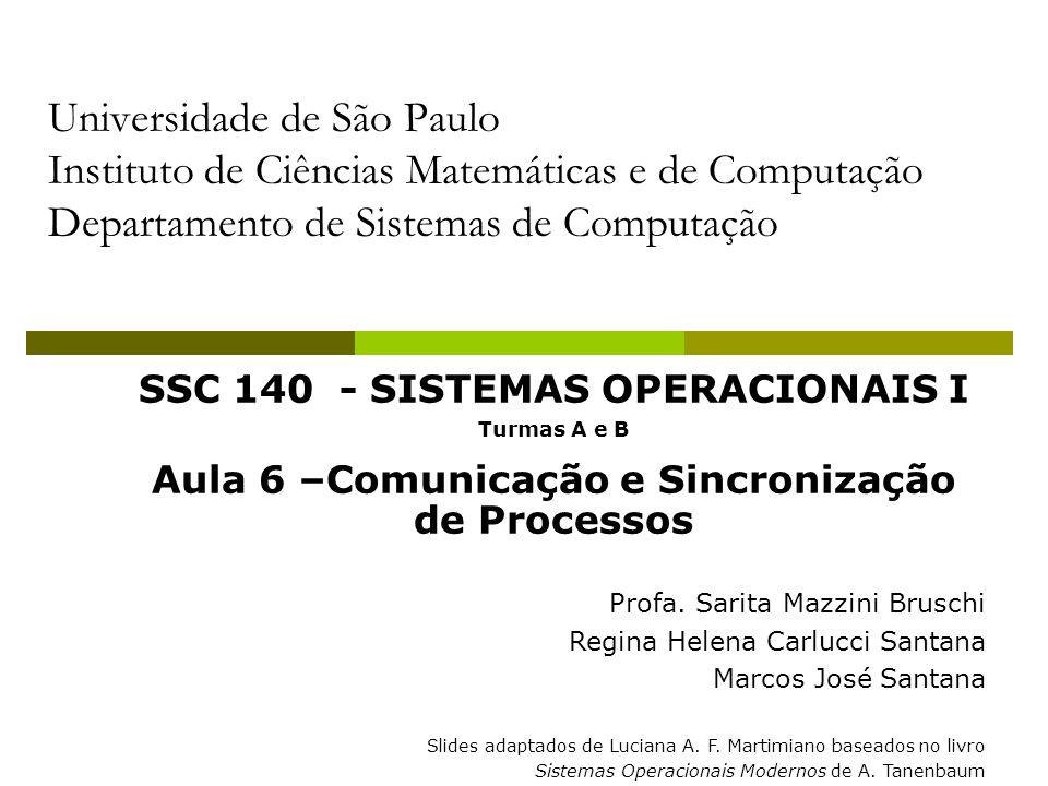 Universidade de São Paulo Instituto de Ciências Matemáticas e de Computação Departamento de Sistemas de Computação SSC 140 - SISTEMAS OPERACIONAIS I Turmas A e B Aula 6 –Comunicação e Sincronização de Processos Profa.
