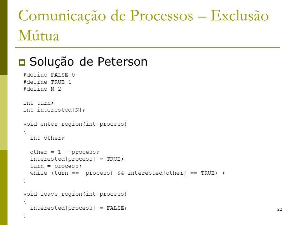 22 Comunicação de Processos – Exclusão Mútua Solução de Peterson #define FALSE 0 #define TRUE 1 #define N 2 int turn; int interested[N]; void enter_region(int process) { int other; other = 1 - process; interested[process] = TRUE; turn = process; while (turn == process) && interested[other] == TRUE) ; } void leave_region(int process) { interested[process] = FALSE; }