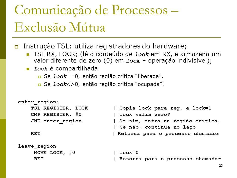 23 Comunicação de Processos – Exclusão Mútua Instrução TSL: utiliza registradores do hardware; TSL RX, LOCK; (lê o conteúdo de lock em RX, e armazena um valor diferente de zero (0) em lock – operação indivisível); Lock é compartilhada Se lock ==0, então região crítica liberada.