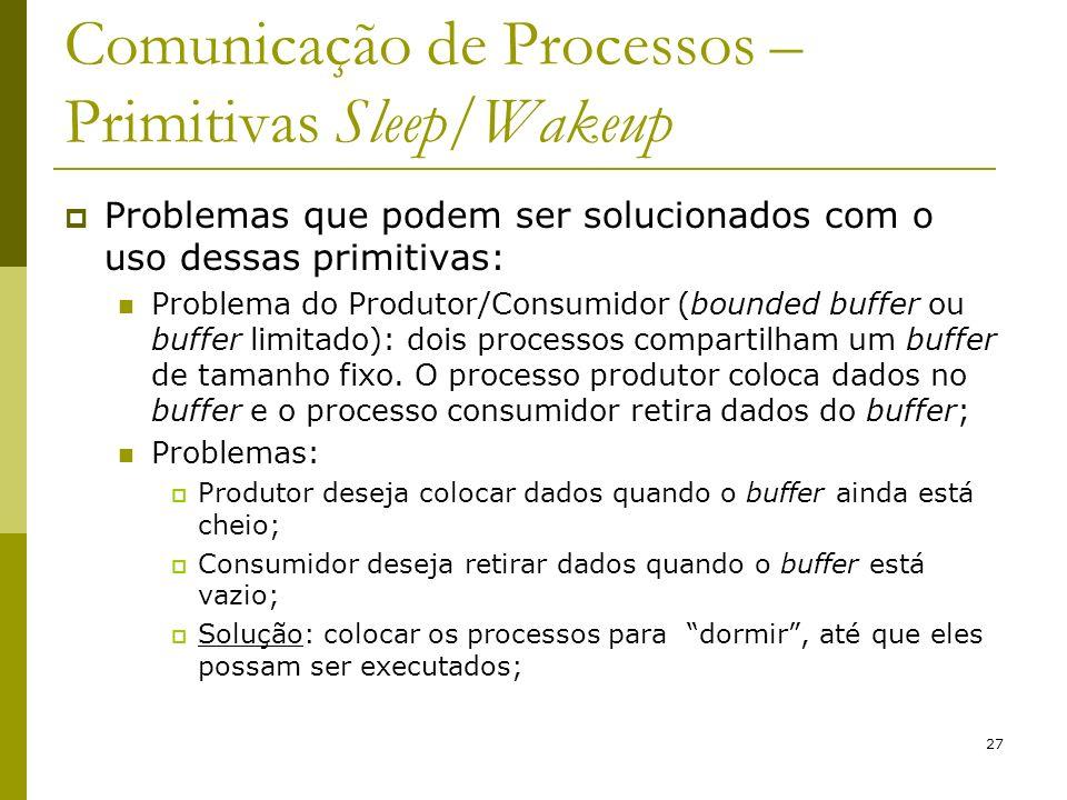 27 Comunicação de Processos – Primitivas Sleep/Wakeup Problemas que podem ser solucionados com o uso dessas primitivas: Problema do Produtor/Consumidor (bounded buffer ou buffer limitado): dois processos compartilham um buffer de tamanho fixo.