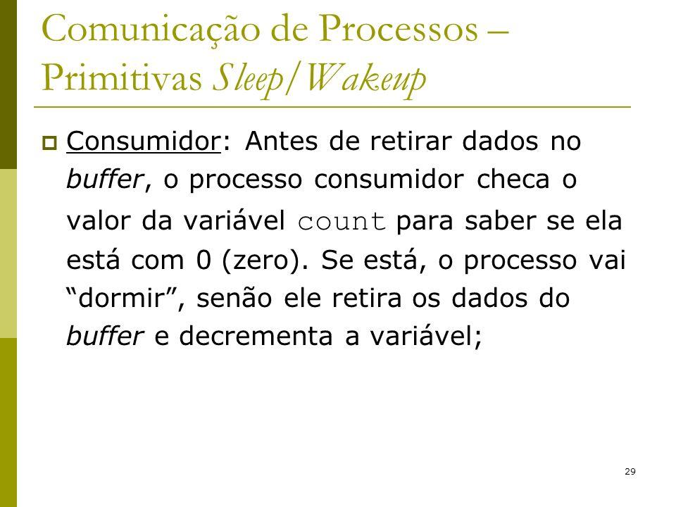 29 Comunicação de Processos – Primitivas Sleep/Wakeup Consumidor: Antes de retirar dados no buffer, o processo consumidor checa o valor da variável count para saber se ela está com 0 (zero).
