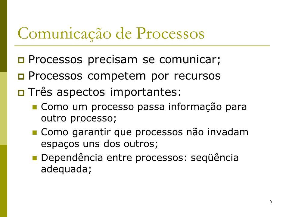 3 Comunicação de Processos Processos precisam se comunicar; Processos competem por recursos Três aspectos importantes: Como um processo passa informação para outro processo; Como garantir que processos não invadam espaços uns dos outros; Dependência entre processos: seqüência adequada;