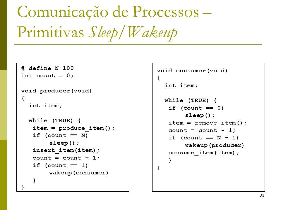 31 Comunicação de Processos – Primitivas Sleep/Wakeup # define N 100 int count = 0; void producer(void) { int item; while (TRUE) { item = produce_item(); if (count == N) sleep(); insert_item(item); count = count + 1; if (count == 1) wakeup(consumer) } void consumer(void) { int item; while (TRUE) { if (count == 0) sleep(); item = remove_item(); count = count - 1; if (count == N - 1) wakeup(producer) consume_item(item); }