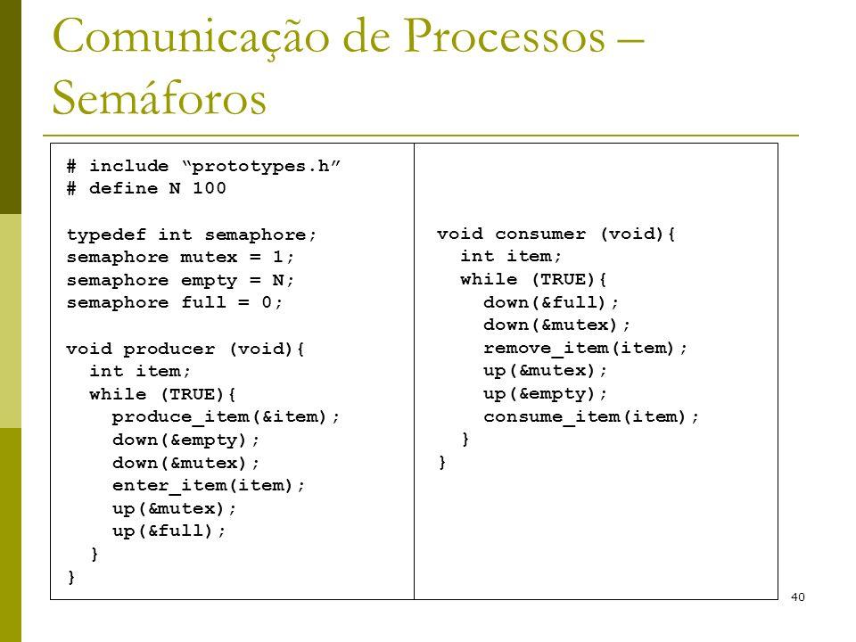 40 Comunicação de Processos – Semáforos # include prototypes.h # define N 100 typedef int semaphore; semaphore mutex = 1; semaphore empty = N; semaphore full = 0; void producer (void){ int item; while (TRUE){ produce_item(&item); down(&empty); down(&mutex); enter_item(item); up(&mutex); up(&full); } void consumer (void){ int item; while (TRUE){ down(&full); down(&mutex); remove_item(item); up(&mutex); up(&empty); consume_item(item); }
