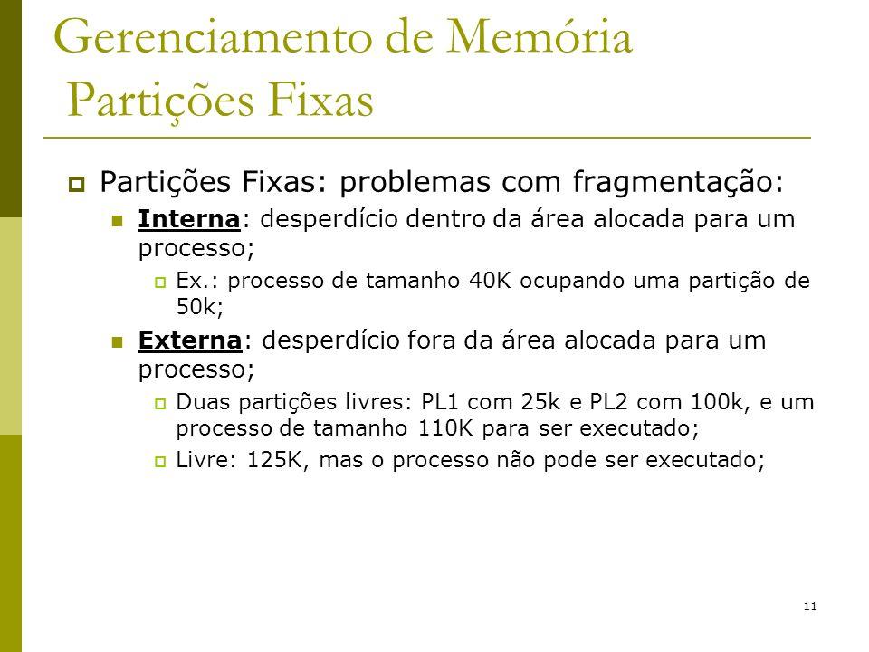 11 Gerenciamento de Memória Partições Fixas Partições Fixas: problemas com fragmentação: Interna: desperdício dentro da área alocada para um processo;