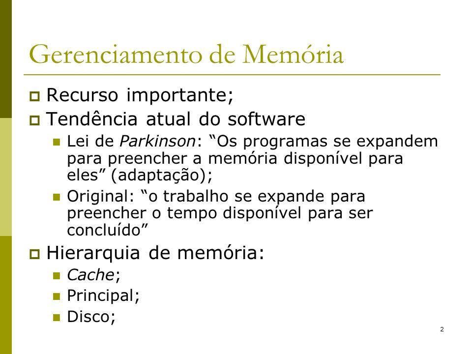 2 Gerenciamento de Memória Recurso importante; Tendência atual do software Lei de Parkinson: Os programas se expandem para preencher a memória disponí