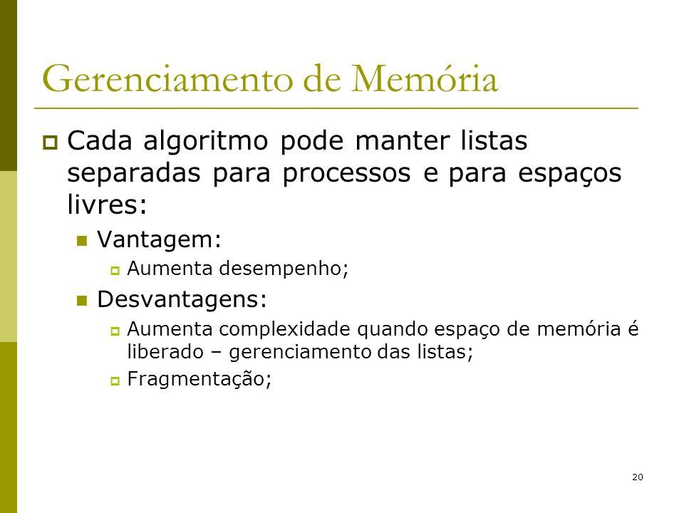 20 Gerenciamento de Memória Cada algoritmo pode manter listas separadas para processos e para espaços livres: Vantagem: Aumenta desempenho; Desvantage