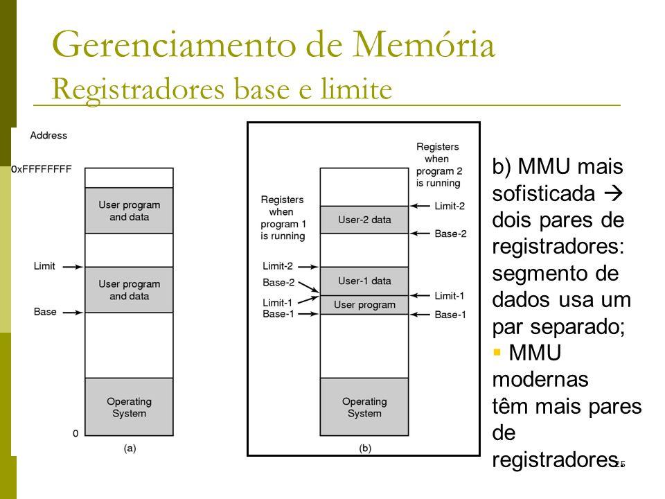 25 Gerenciamento de Memória Registradores base e limite b) MMU mais sofisticada dois pares de registradores: segmento de dados usa um par separado; MM