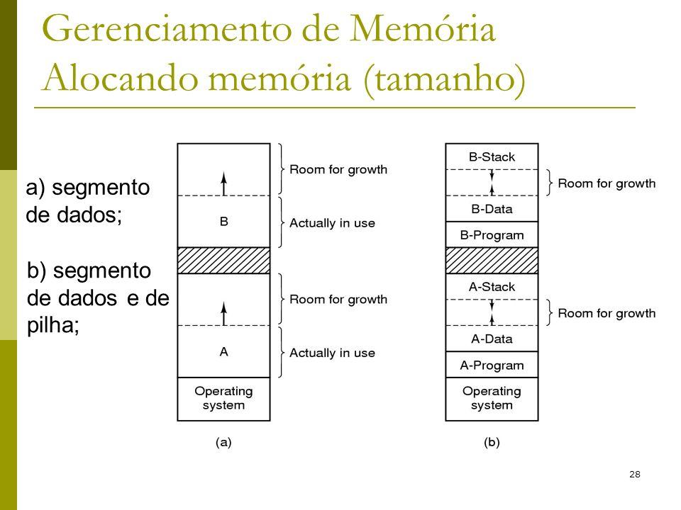 28 Gerenciamento de Memória Alocando memória (tamanho) a) segmento de dados; b) segmento de dados e de pilha;