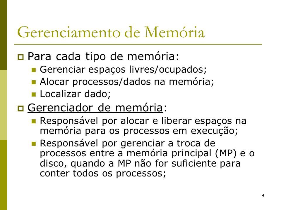 4 Gerenciamento de Memória Para cada tipo de memória: Gerenciar espaços livres/ocupados; Alocar processos/dados na memória; Localizar dado; Gerenciado