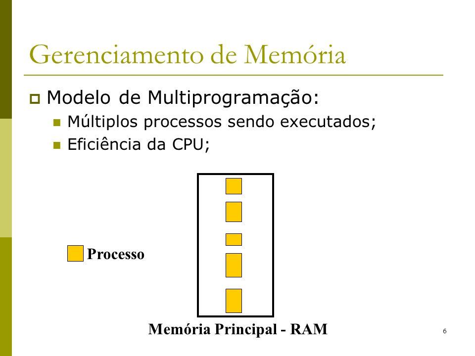6 Gerenciamento de Memória Modelo de Multiprogramação: Múltiplos processos sendo executados; Eficiência da CPU; Memória Principal - RAM Processo