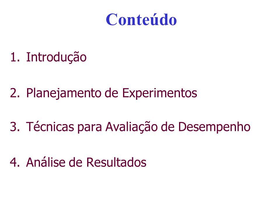 Conteúdo 1.Introdução 2.Planejamento de Experimentos 3.Técnicas para Avaliação de Desempenho 4.Análise de Resultados