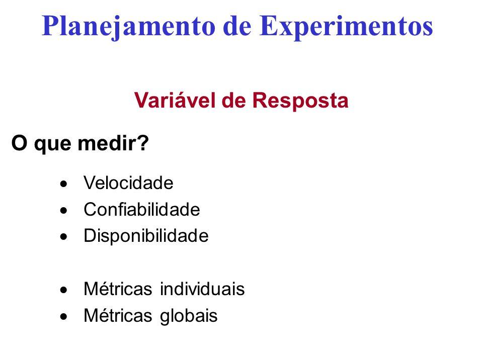Variável de Resposta O que medir? Velocidade Confiabilidade Disponibilidade Métricas individuais Métricas globais Planejamento de Experimentos