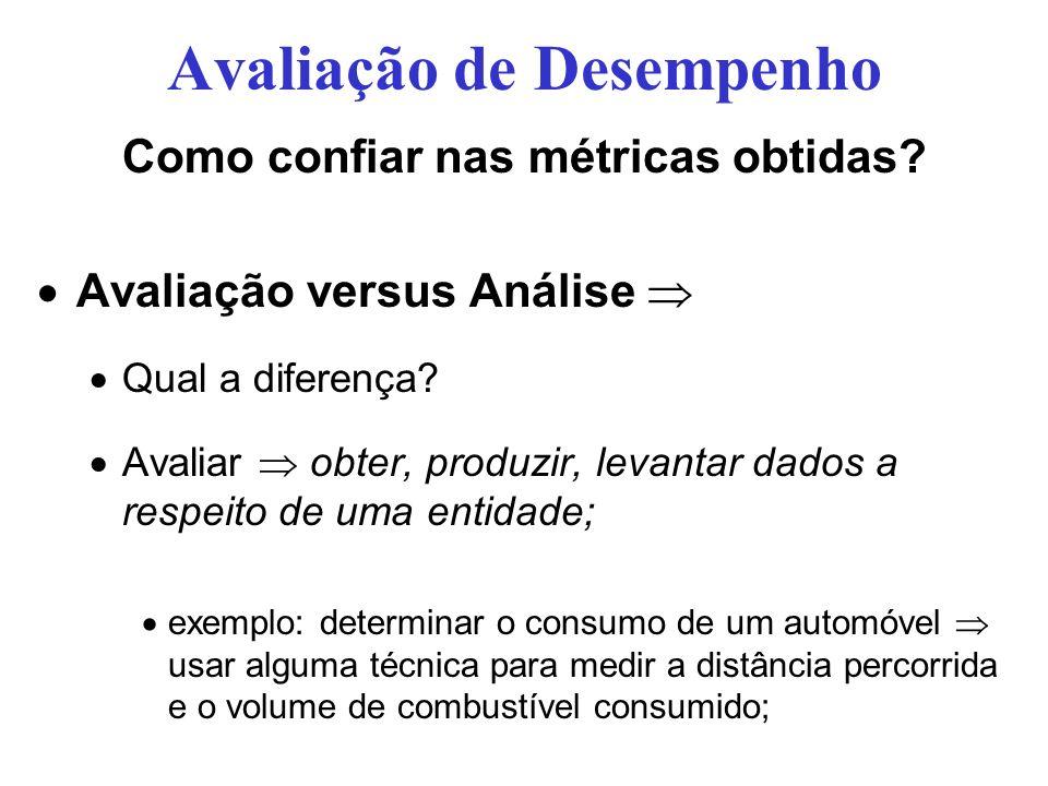Avaliação de Desempenho Como confiar nas métricas obtidas? Avaliação versus Análise Qual a diferença? Avaliar obter, produzir, levantar dados a respei