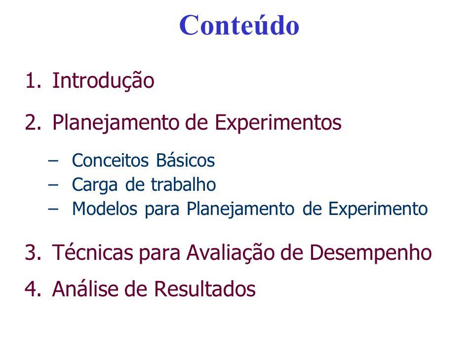Conteúdo 1.Introdução 2.Planejamento de Experimentos –Conceitos Básicos –Carga de trabalho –Modelos para Planejamento de Experimento 3.Técnicas para A