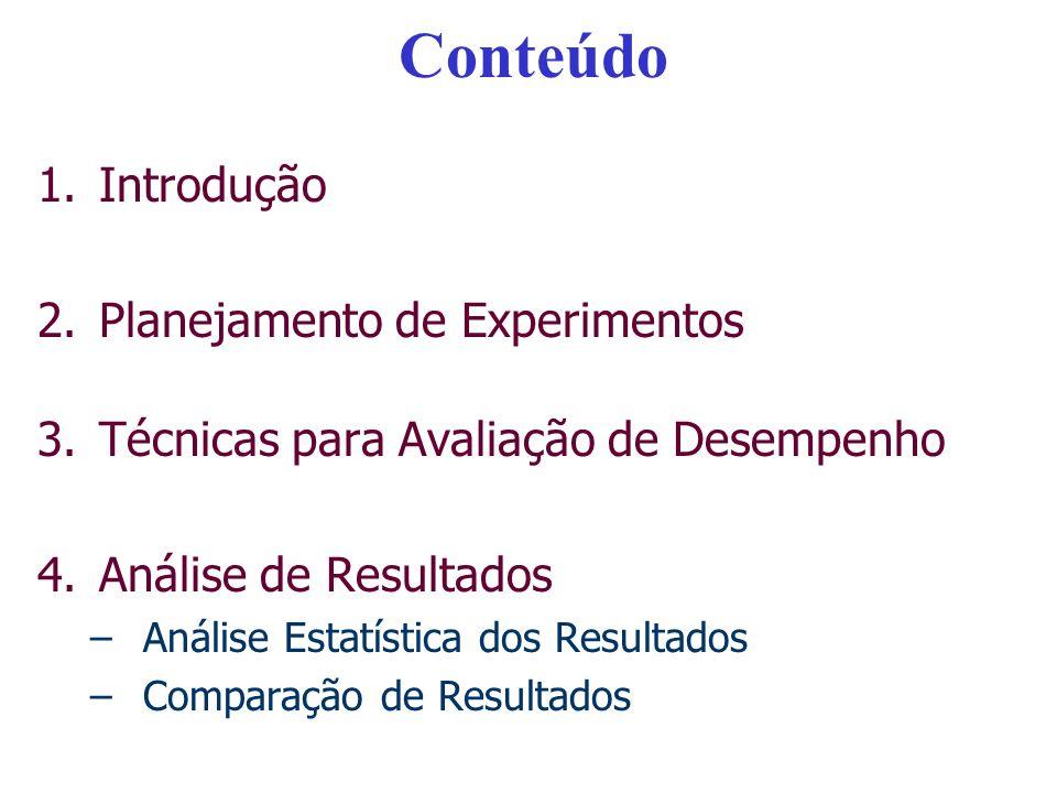 Conteúdo 1.Introdução 2.Planejamento de Experimentos 3.Técnicas para Avaliação de Desempenho 4.Análise de Resultados –Análise Estatística dos Resultad