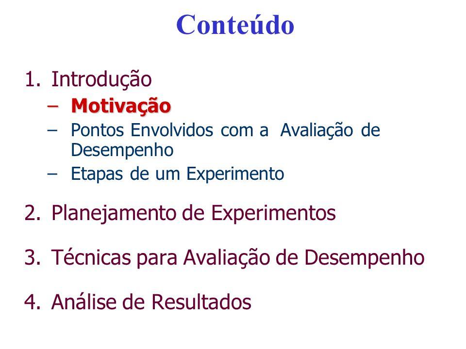 Conteúdo 1.Introdução –Motivação –Pontos Envolvidos com a Avaliação de Desempenho –Etapas de um Experimento 2.Planejamento de Experimentos 3.Técnicas