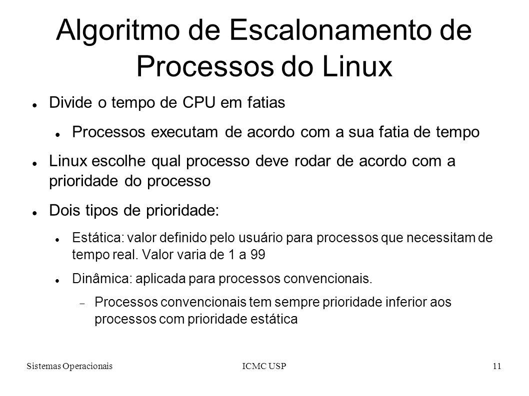 Sistemas OperacionaisICMC USP11 Algoritmo de Escalonamento de Processos do Linux Divide o tempo de CPU em fatias Processos executam de acordo com a sua fatia de tempo Linux escolhe qual processo deve rodar de acordo com a prioridade do processo Dois tipos de prioridade: Estática: valor definido pelo usuário para processos que necessitam de tempo real.